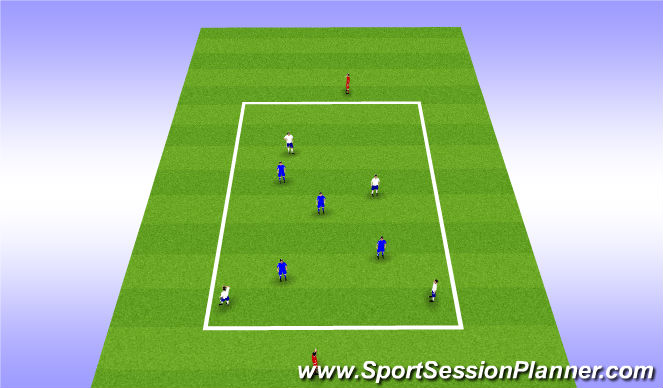 Football/Soccer Session Plan Drill (Colour): Rondo - 4v4+2