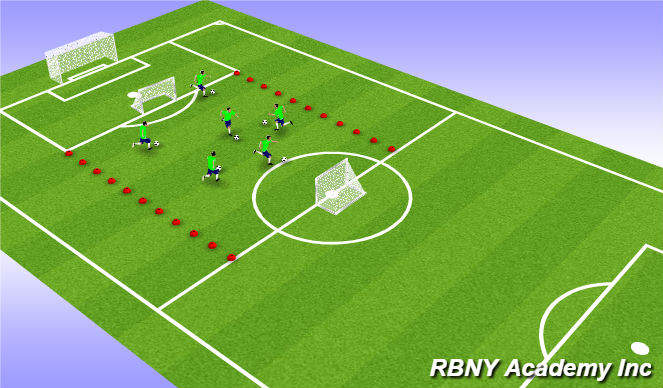 Football/Soccer Session Plan Drill (Colour): Warm up / Tecnical warm up