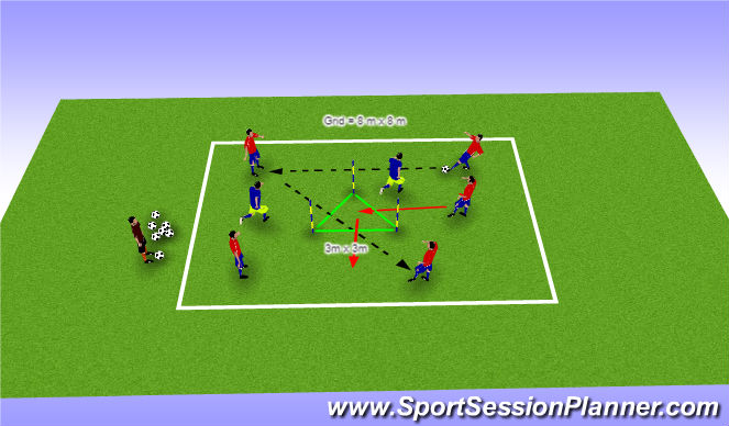 Football/Soccer Session Plan Drill (Colour): Tech 2: Specific Passing