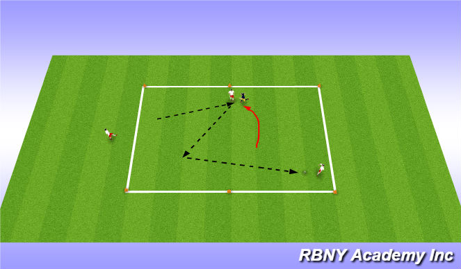 Football/Soccer Session Plan Drill (Colour): 1vs1+2 (individual/group tactics)
