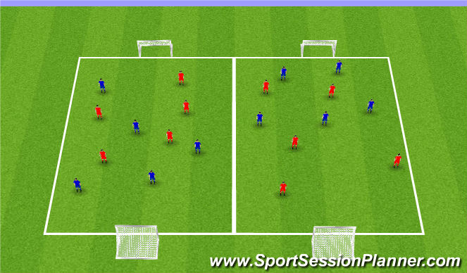 Football/Soccer Session Plan Drill (Colour): SSG Competition.