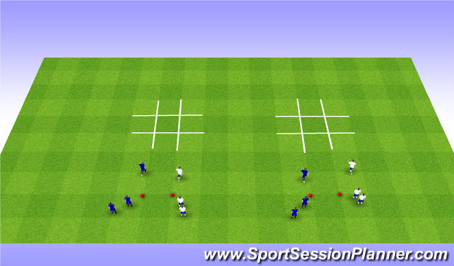 Football/Soccer Session Plan Drill (Colour): Tic Tac Toe