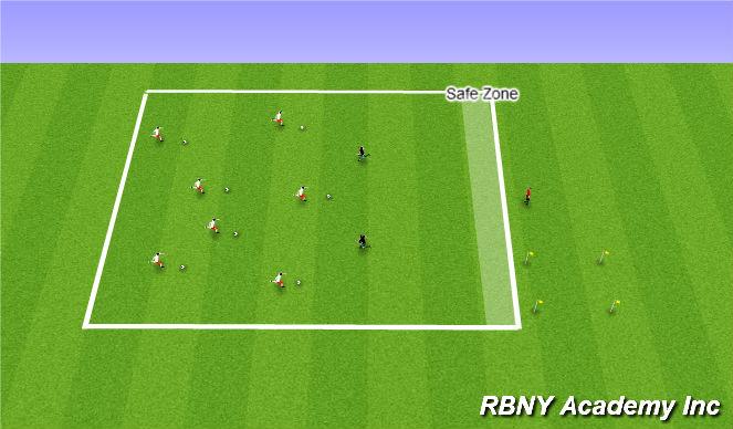 Football/Soccer Session Plan Drill (Colour): Sharks + Minnows