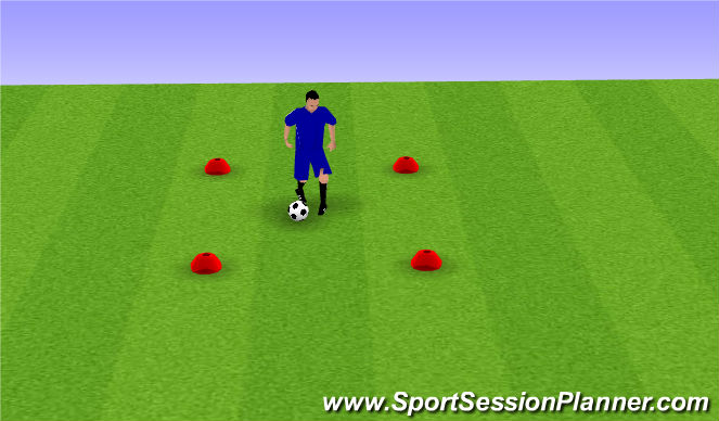 Football/Soccer Session Plan Drill (Colour): 4 Cone Ball Mastery