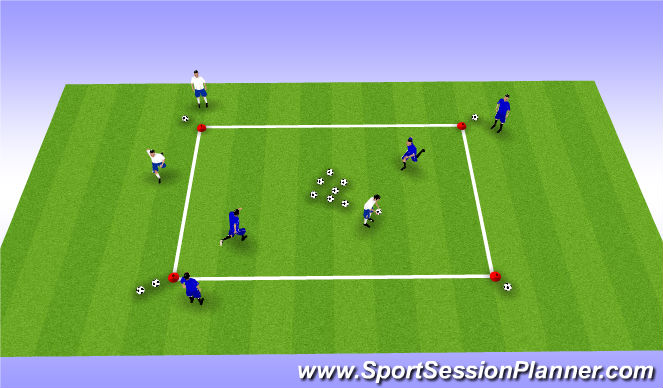Football/Soccer Session Plan Drill (Colour): Ball Collector Warm Up