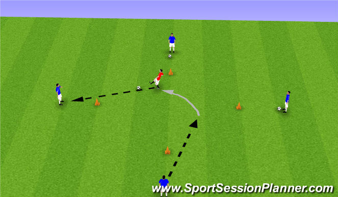 Football/Soccer Session Plan Drill (Colour): Find Open Man (advanced)