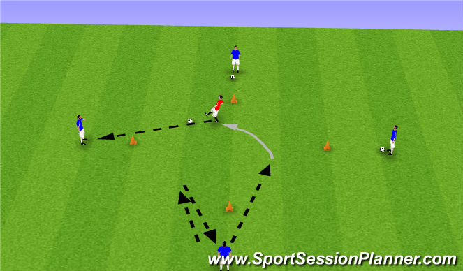 Football/Soccer Session Plan Drill (Colour): 1-2 Open Man