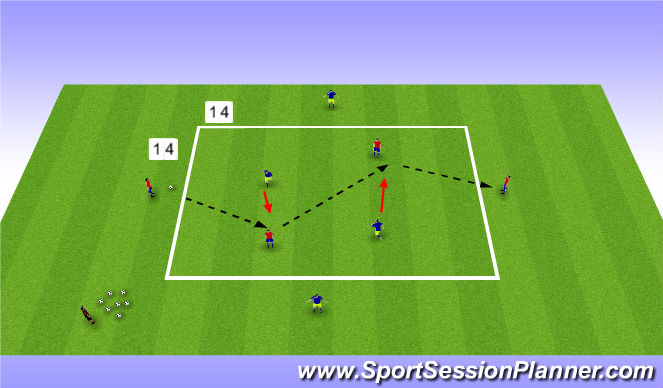 Football/Soccer Session Plan Drill (Colour): Technical 2: Combination Play