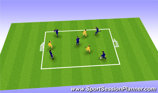 Football/Soccer Session Plan Drill (Colour): 5v3 Possession Game