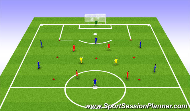 Football/Soccer Session Plan Drill (Colour): 6v4+2
