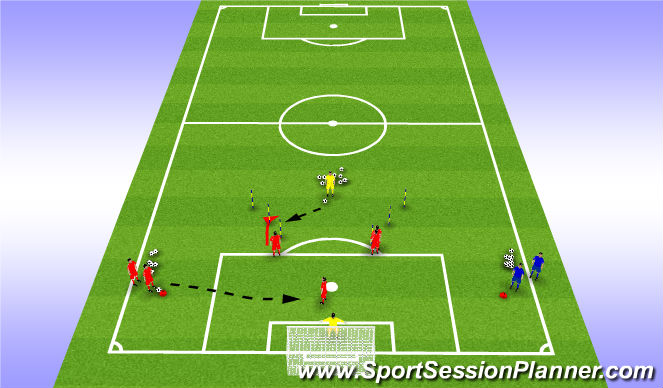 Football/Soccer Session Plan Drill (Colour): 1 v 1 / Defend Cross