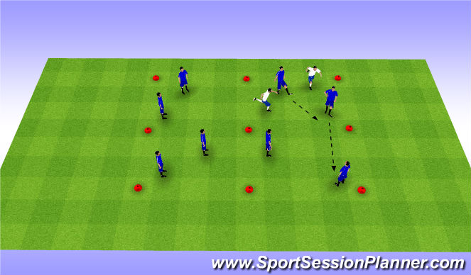 Football/Soccer Session Plan Drill (Colour): Grid Possession