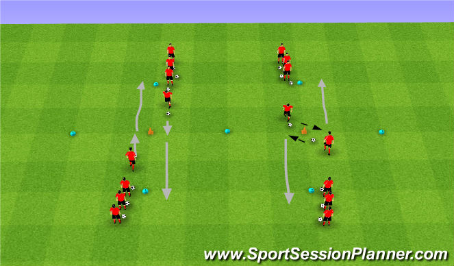 Football/Soccer Session Plan Drill (Colour): Technical: Dynamic Combination