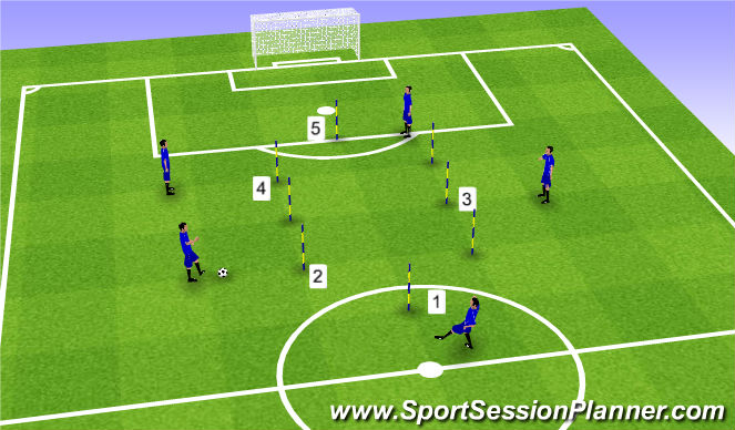 Football/Soccer Session Plan Drill (Colour): Passing Pattern Zig Zag - Variation 3