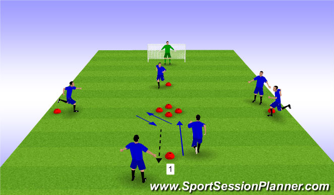Football/Soccer Session Plan Drill (Colour): Techincal Diamond - Variation 1