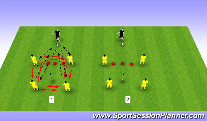 Football/Soccer Session Plan Drill (Colour): One touch/change of direction
