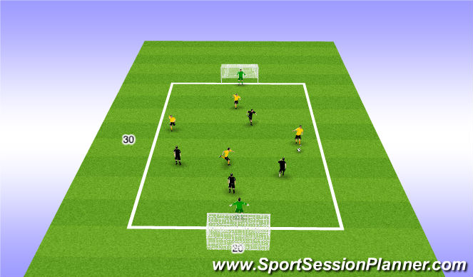 Football/Soccer Session Plan Drill (Colour): SSG 4v4 Big Goals