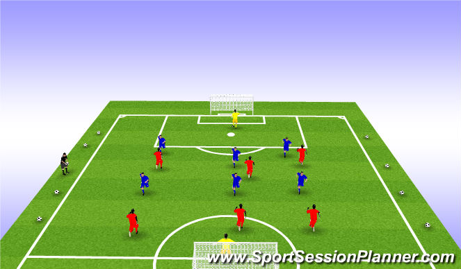 Football/Soccer Session Plan Drill (Colour): SSG 7V7 or 8V8