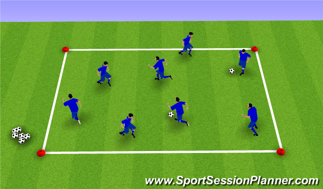 Football/Soccer Session Plan Drill (Colour): Dribbling Tag