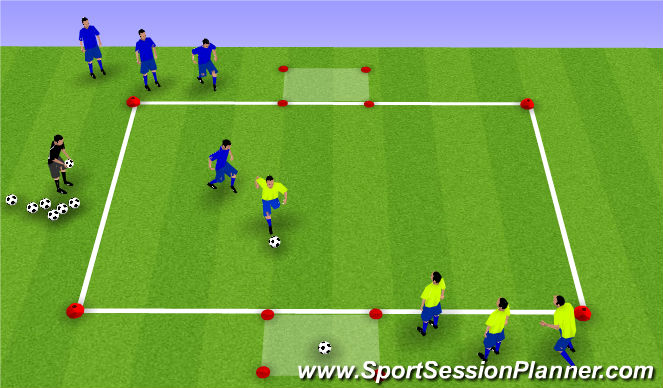 Football/Soccer Session Plan Drill (Colour): 1 v 1 Retrieve and Deliver