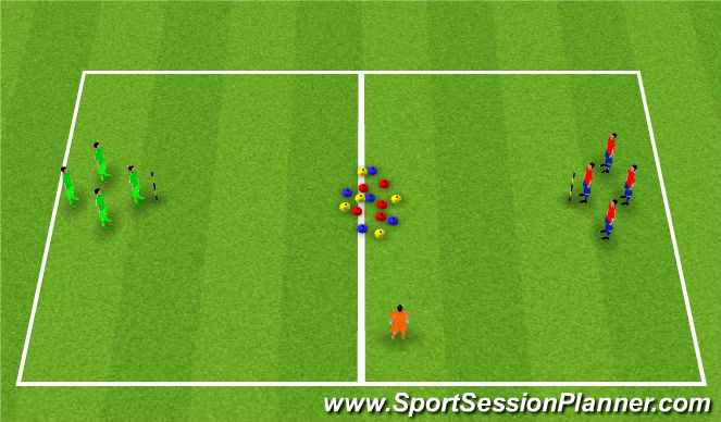 Football/Soccer Session Plan Drill (Colour): Cone on pole