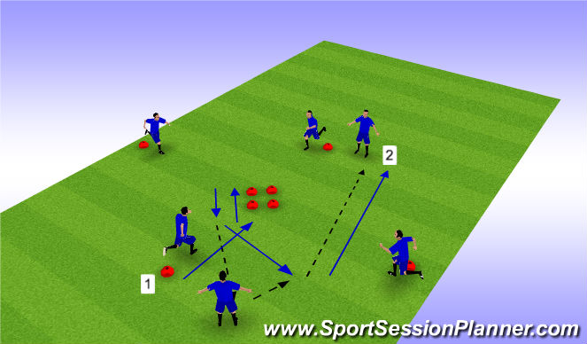 Football/Soccer Session Plan Drill (Colour): Technical Diamond - Variation 2