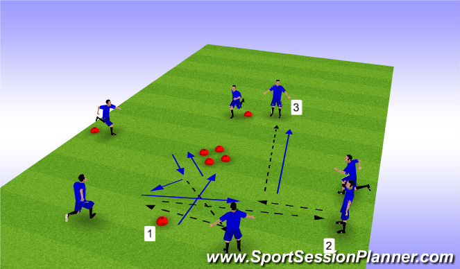 Football/Soccer Session Plan Drill (Colour): Technical Diamond - Variation 3