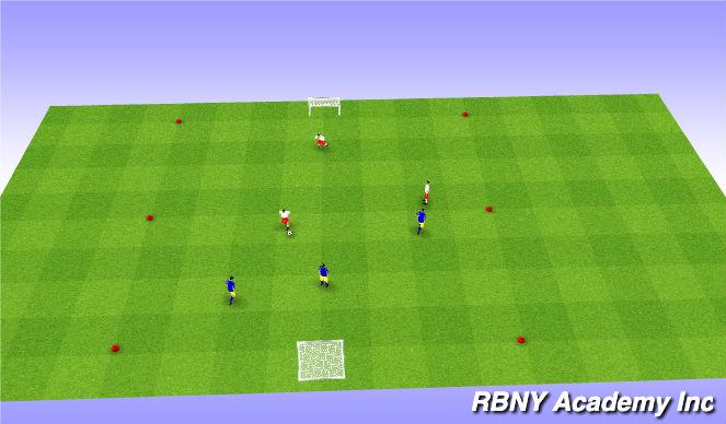 Football/Soccer Session Plan Drill (Colour): 3v3 - 4v4
