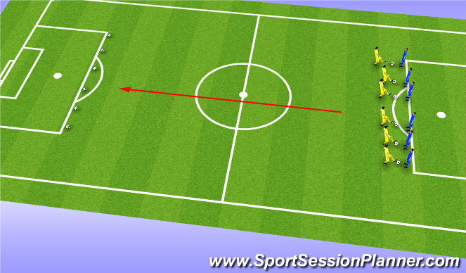 Football/Soccer Session Plan Drill (Colour): Interval Pitch Lengths