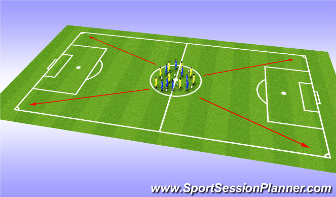 Football/Soccer Session Plan Drill (Colour): Interval Team Runs