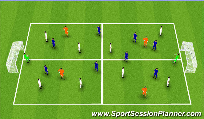 Football/Soccer Session Plan Drill (Colour): 8v8 (+4)