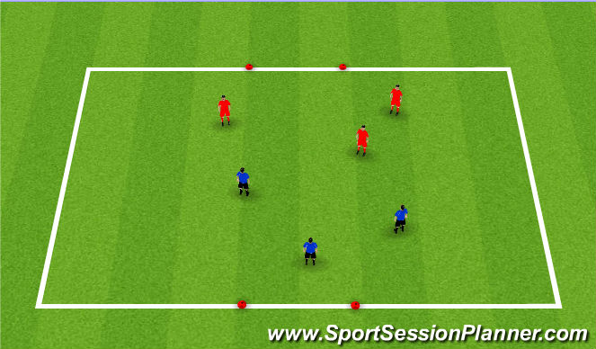Football/Soccer Session Plan Drill (Colour): 3v3 Kings Court