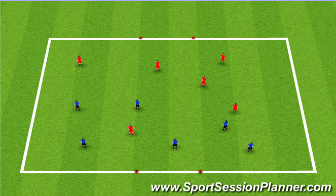 Football/Soccer Session Plan Drill (Colour): 6v6 Kings Court