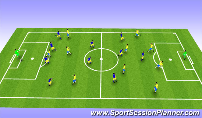 Football/Soccer Session Plan Drill (Colour): FCT 11 v 11