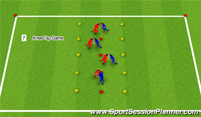 Football/Soccer Session Plan Drill (Colour): Knee Tap Game
