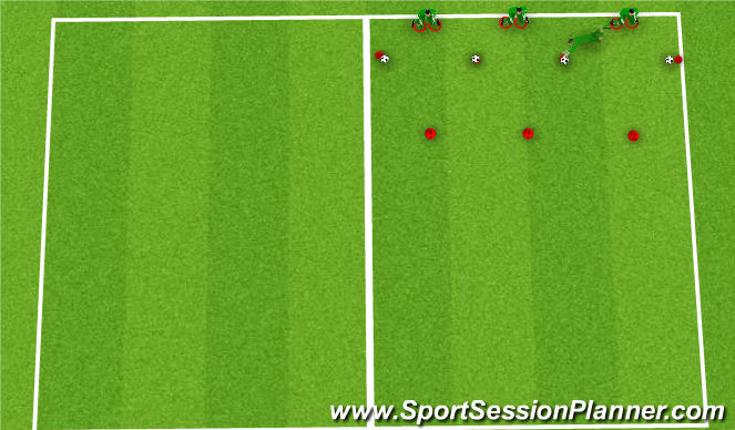 Football/Soccer Session Plan Drill (Colour): Set in rings, stepping out and going forward