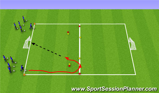 Football/Soccer Session Plan Drill (Colour): Dribble, Turn, Shoot