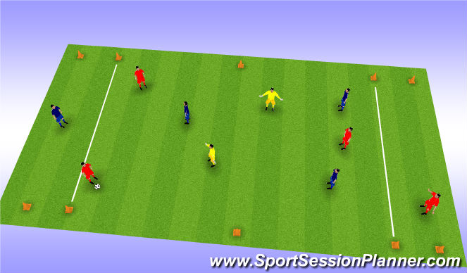 Football/Soccer Session Plan Drill (Colour): 3 v 3 + 2N to target