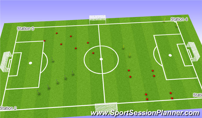 Football/Soccer Session Plan Drill (Colour): Four Station Circuit
