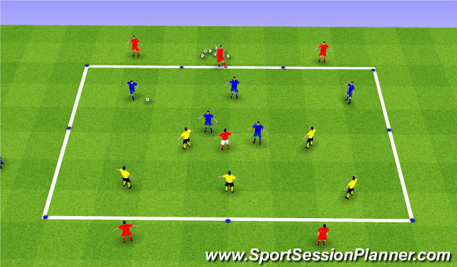 Football/Soccer Session Plan Drill (Colour): Build out into midfield