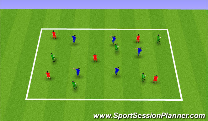 Football/Soccer Session Plan Drill (Colour): 3 team possession