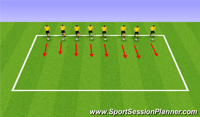 Football/Soccer Session Plan Drill (Colour): Ball Mastery - Parallel Dribbling