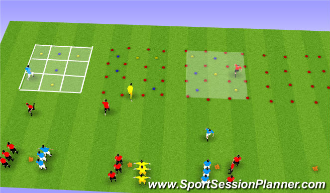Football/Soccer Session Plan Drill (Colour): Tic - Tac - To