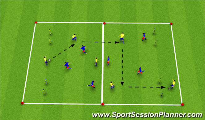 Football/Soccer Session Plan Drill (Colour): Global - Movement off the Ball