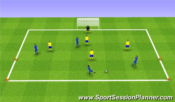 Football/Soccer Session Plan Drill (Colour): 4v4 (+GK) Game
