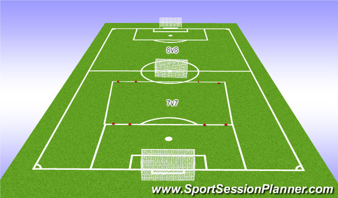 Football/Soccer Session Plan Drill (Colour): 7v6 attack vs defense