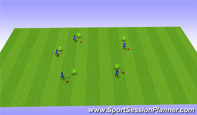 Football/Soccer Session Plan Drill (Colour): Penny Drop Warm Up (5 mins)