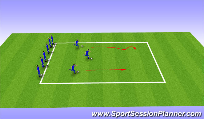 Football/Soccer Session Plan Drill (Colour): Warm Up-Part 1 (5 mins)