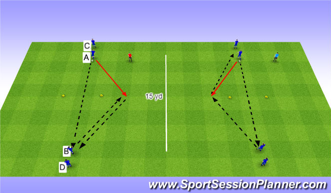 Football/Soccer Session Plan Drill (Colour): 2-Cone Passing Pattern 1