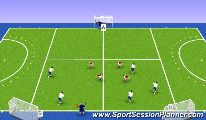 Hockey Session Plan Drill (Colour): 5 v 4 Break